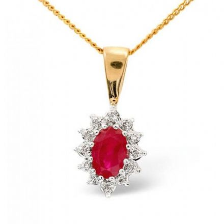 18K Gold 0.04ct Diamond & 6mm x 4mm Ruby Pendant, DCP03-R